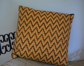 Mid Century Modern Completed Bargello Needlepoint Throw Pillow Oranges Browns Nice 1960's 1970's
