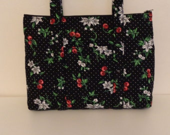 Black Red Cherries White Blossoms Polka Dot Print Quilted Purse Quilted Handbag