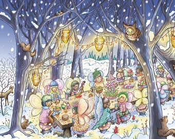 Where Do Fairies Go When It Snows? Winter Feast Print