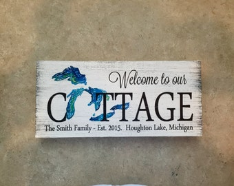 "Custom Cottage Wood sign, Est. Date and cottage location on bottom 12""x5.5"""