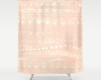 Blush Pink Geometric Shower Curtain  pink shower curtain  blush pink curtain   light pinkPink shower curtain   Etsy. Pale Pink Shower Curtain. Home Design Ideas