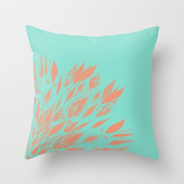 Blue Coral Throw Pillow : Blue Coral Outdoor Throw Pillow Cover blue outdoor pillow