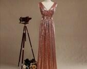 2016 Rose Gold Bridesmaid dress, Long Gold Sequin Wedding dress, Sequin Prom, Metallic Sparkle Evening dress, V neck back Luxury full length