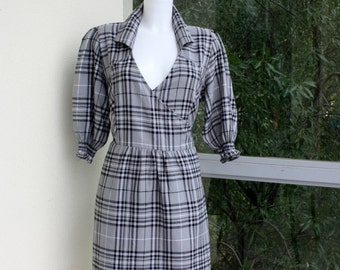 "Gray plaid dress  cotton flannel wrap dress open collar smocked cuffs wrapped at back plus size   bust 46"" XL"