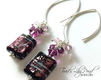 Women's Purple Earrings | Purple Earrings for Women | Gift for Her Purple | Favorite Color Purple | Purple Murano Glass Earrings | Fancy