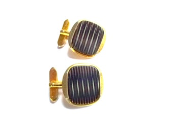 geometric cuff links- 50s cufflinks- mid century clothing for him- present to father- gift to brother or boyfriend- French vintage - gold