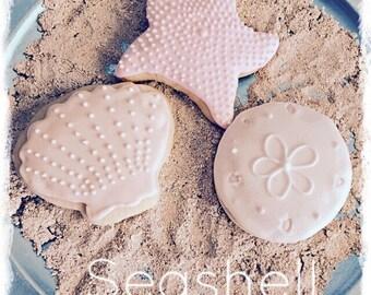 SALE-Seashell Sugar Cookie Favors-Seashell birthday-beach birthday-seaside party