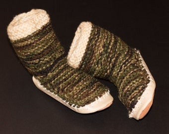 Hand Knit Camouflage Slippers Child US Size 10-12