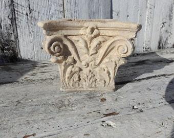 Vintage Chalkware Plaster Cement Planter Florentine Acanthus Leaf Corinthian Column