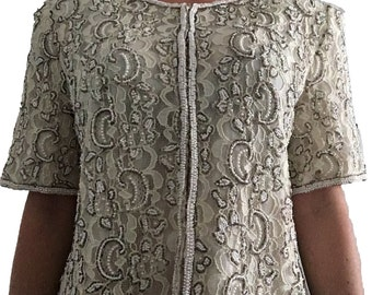 Lace and Beaded Jacket/ Stenay Designer Cream Beaded and Lace Blouse/ Cream Jacket/ Cream Cardigan/ Sequin/ Beaded Top/ Designer Top