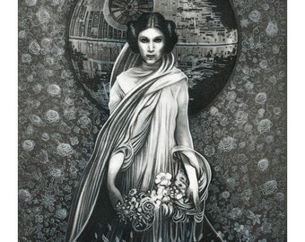 "Signed Giclee Print by James Hance - ""Portrait Of A Princess"" (Star Wars / Princess Leia / Alphonse Mucha)"