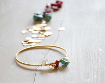 Golden gemstones Bangle Bracelet