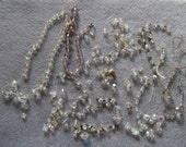 Vintage Lot of Crystal Broken Bead Necklaces and Strands 1940's - 1960's