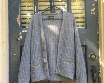 Gray Cable Knit Cardigan with Green Accents & Silver Buttons
