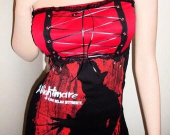 NIGHTMARE On Elm Street Top Mini Dress Corset Tunic Top FREDDY KRUEGER Dress Top Horror dress Halloween Dress Halloween Top
