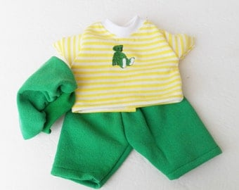 """Bitty Baby Clothes Handmade Twin Boy or Baby Doll 15"""" Doll Yellow stripe teddy bear embroidered t shirt, green shorts, tam hat 3pc spring"""