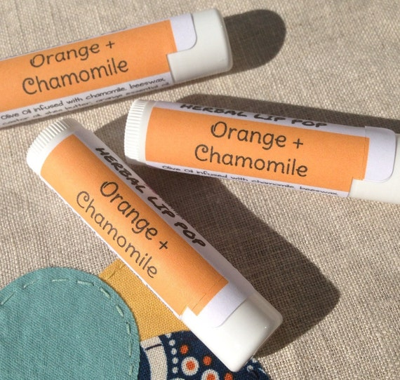 Chamomile + Orange Herbal Lip Pop - Handcrafted Lip Balm - Ships free with any other purchase!