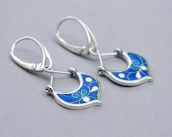 Handmade silver earrings, Silver earrings with ennamel.