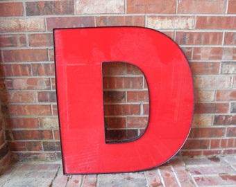 """GIANT Reclaimed RED Plastic Sign Letter """"D"""", Valentine, Wedding, Industrial Salvage, Home Decor, Office Decor, Industrial Decor"""