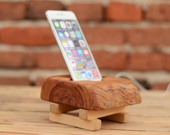Wooden iPhone 6 Plus Charging Station, iPhone Docking Station, Wooden Phone Stand, iPhone 6/6s Holder, Zen Docking Station, Mens Gift, Wood