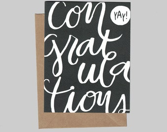 Yay! Script Congratulations - Illustrated Blank Greeting Card