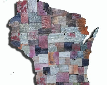 County Map of Wisconsin or any state made from Reclaimed fencing, recycled, reclaimed wooden map, vintage, rustic fine art one of a kind