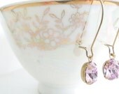 Custom order for Rebekah Lilac Swarovski Crystal Rhinestone earrings and necklace set Oval Crystals Antiqued Brass
