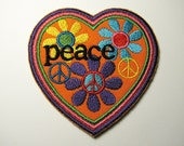 Peace Patch - Embroidered Iron-On Patch - Heart, Flowers, Peace Sign Patch - Hippie Patch - Flower Child - Retro 60s Style Jeans Patch