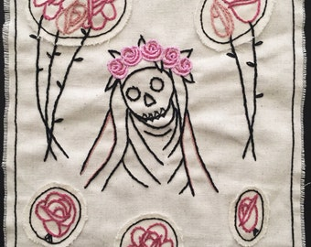 Hand Embroidered Wall Hanging, St. Rosa de Lima, Skull Face