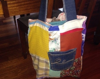 Patchwork shopping bag Eco bag 100% cotton fully lined Farmers market tote green bag shopping tote Stop the Plastic