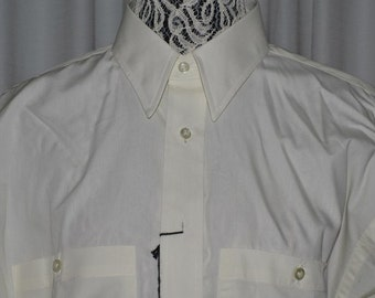 CHRISTIAN DIOR Long Sleeve White Mens High Fashion Shirt Size 16 Canada 1980s