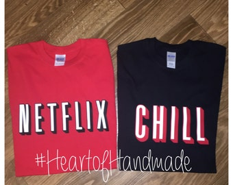 Netflix and chill costume couple shirts