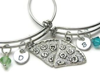 Pizza Hand Stamped Initial Swarovski Birthstone, Bangles 2 Best Friends Bracelet, Personalized Bracelet, Adjustable Bracelet, Pizza Bracelet