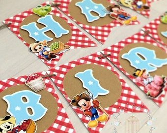 Farmer Mickey Birthday Banner / Happy Birthday Banner / Mickey Mouse Party Banner