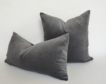 slate grey velvet pillow case // grey velvet pillow case // rectangle grey velvet