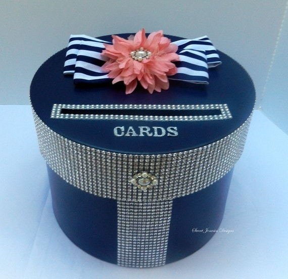 Navy Blue And Silver Wedding Ideas: Navy Blue Coral Wedding Card Box Silver Bling