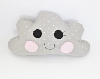 Grey Heart Cloud Sweet Dreams Soft Cotton Pillow