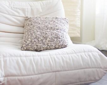 Hand Knit Pillow Case . Modern Accessories . Natural