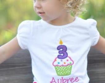 3 Cupcake Birthday Shirt