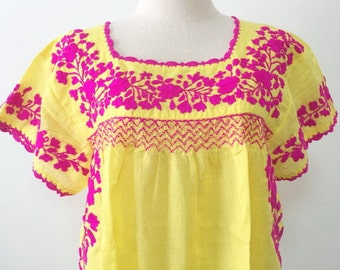 Hand Embroidered Mexican Blouse Cotton Top In Yellow, Boho Blouse, Hippie Blouse, Gypsy Top