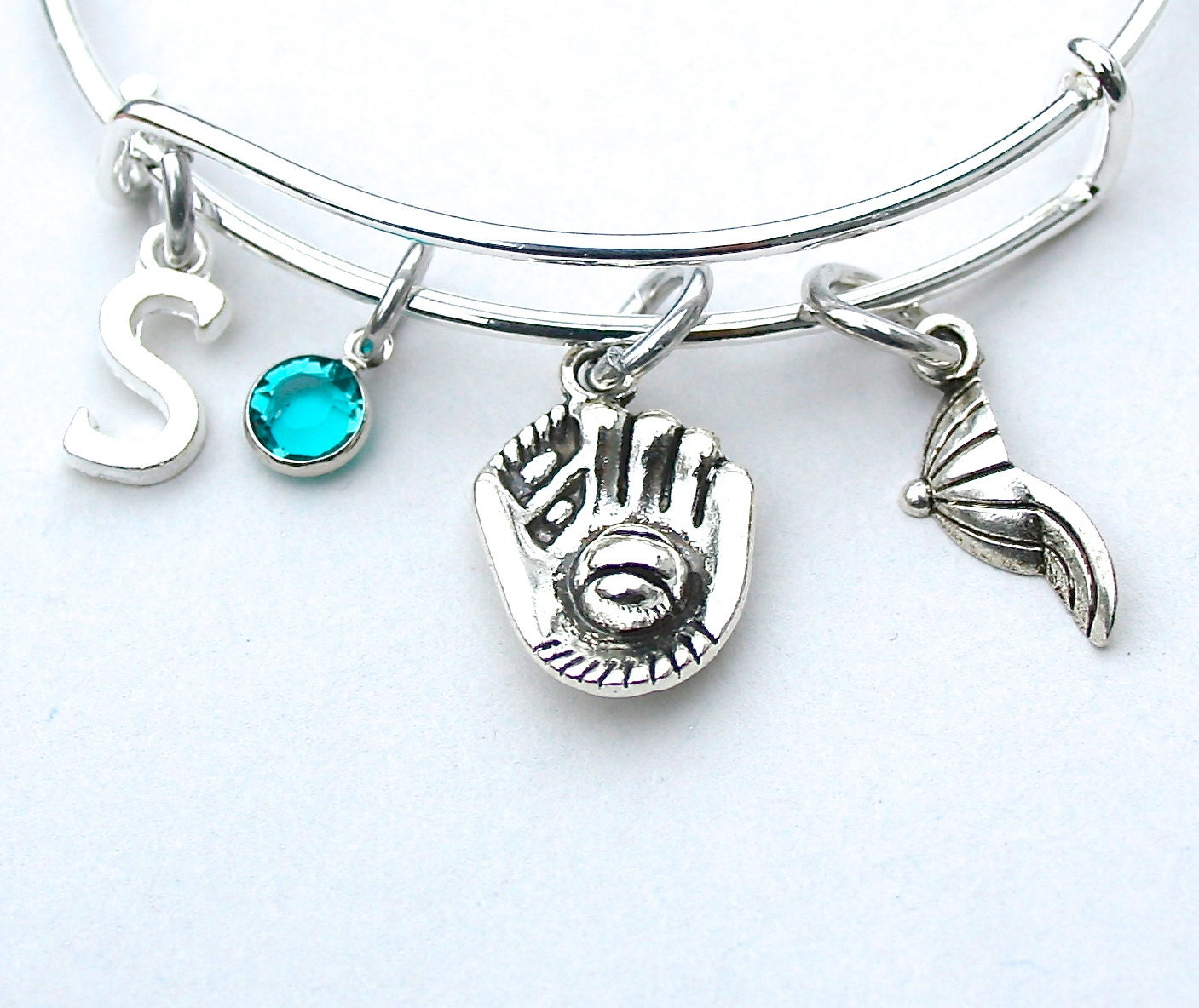 Softball Charm Bangle Baseball Charm Bracelet Personalized