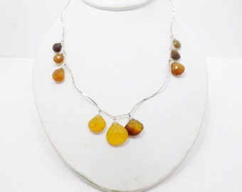 Yellow Chalcedony Sterling Silver Necklace