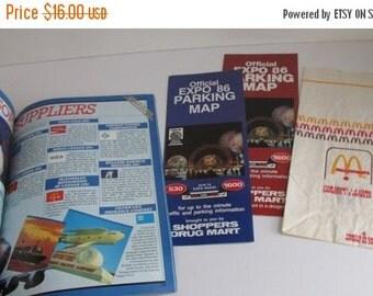 SALE Lot McDonalds 1986 Bag 1986 Expo 86 Memorabilia Lot of Paper Ephemera  Olympic Expo Souvenir Guide Canada Expo 1986