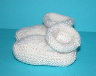 baby Booties hand knitted in Creamy White Debbie Bliss Cashmerino baby yarn.