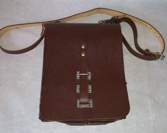 Brown Leather Pilots Log Bag w/ Arm Strap