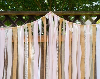 Rustic Photo Backdrop // Burlap, Lace, Blush // wedding, bridal shower, party, decoration