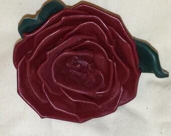 Maroon Lambskin Leather Rose Pin