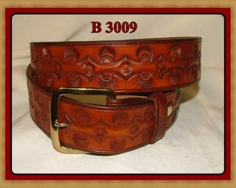 "Hand Tooled Leather Belt no. B 3009 - 1 1/2""  Wide. Tan"