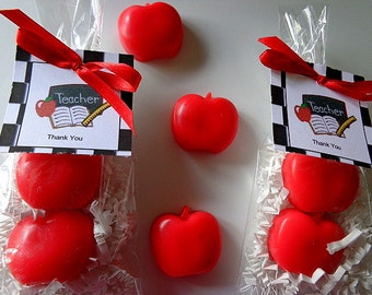10 Apple Soap Favors, 20 Soaps Complete with Packaging, Teacher Appreciation, School Parties, Mom's Day, Special Occasions