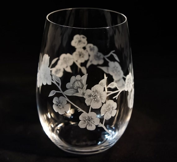 Hand Engraved Cherry Blossom Stemless Glass, Stemless Wine Glass, Cherry Blossom, Floral, Wine Glasses, Home Decor, Table Setting